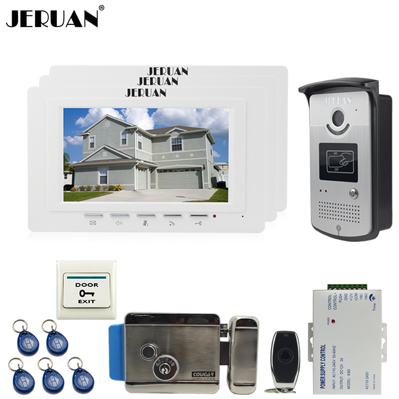 JERUAN luxury 7`` LCD  Video Door Phone three 700TVT Camera access Control System+Electronic lock+Remote control Unlock jeruan black 8 lcd video door phone system 700tvt camera access control system cathode lock remote control 8gb card