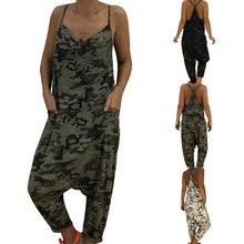 235659760a8 CALOFE 2019 Summer Women Sexy Jumpsuits Camouflage Print Spaghetti Strap V  Neck Casual Sleeveless Military Streetwear