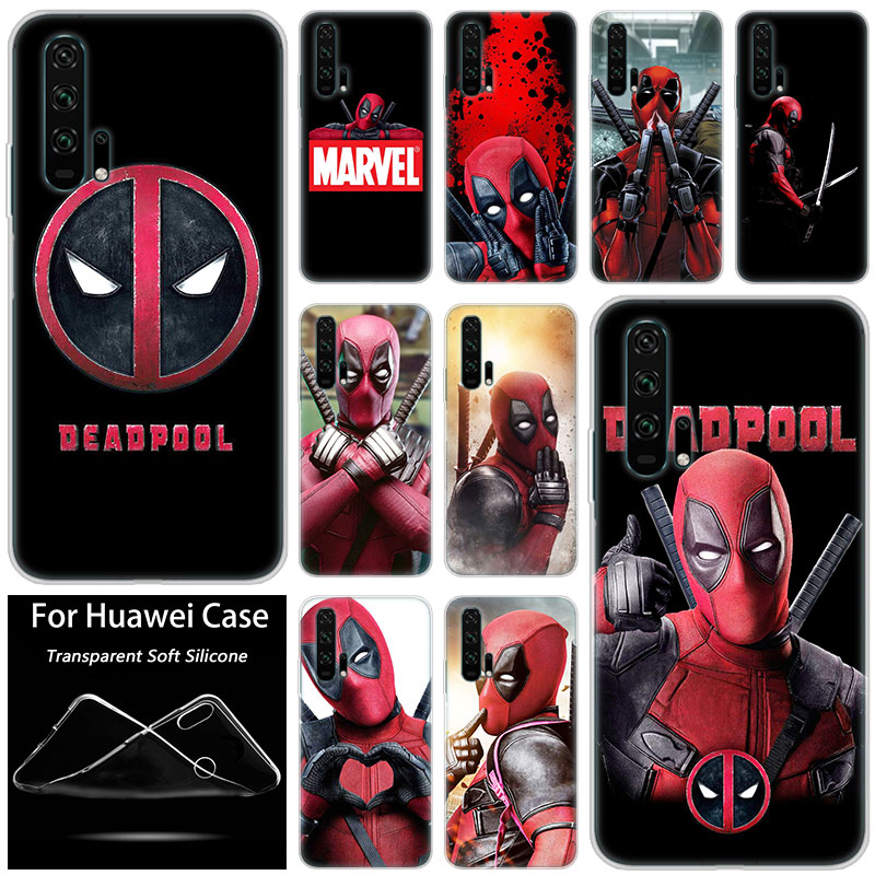 Hot <font><b>Marvel</b></font> hero Deadpool Fashion Silicone <font><b>Case</b></font> for Huawei <font><b>Honor</b></font> 20 8A 7A Pro 10 <font><b>9</b></font> 8 <font><b>Lite</b></font> View 20 7S 8S 8X 7X 6X 8C 20i 10i Play image