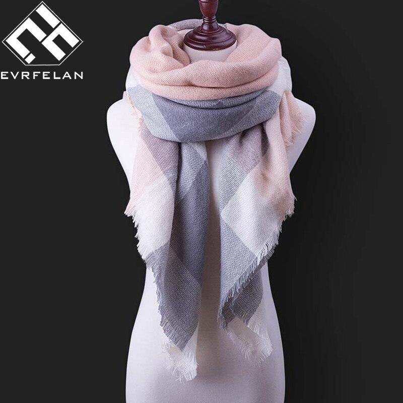 Fashion Winter Scarf For Women Scarf Cashmere Warm Plaid Pashmina Scarf Luxury Brand Blanket Wraps Female Scarves And Shawls(China)