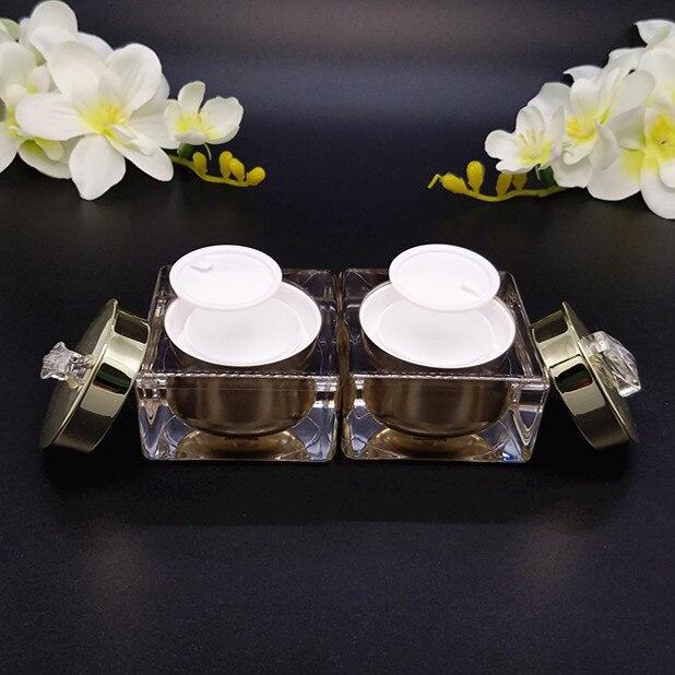 5pcs lot 15g 30g 50g gold white jar pot high class crystal jar cosmetic jar empty