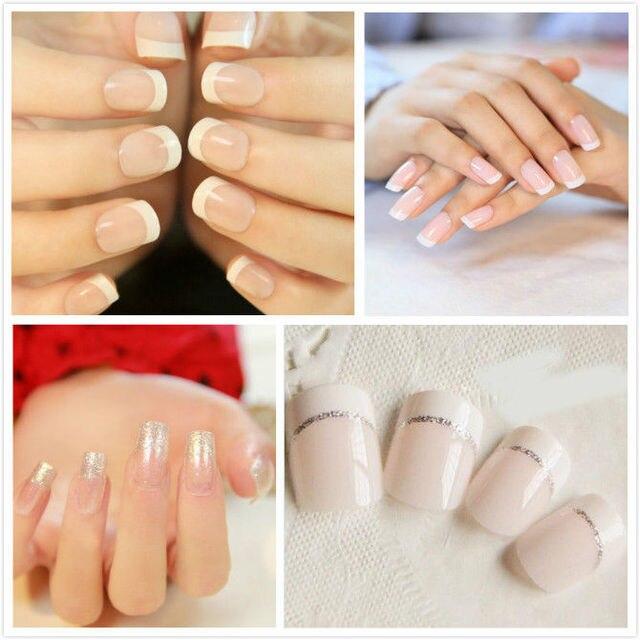 Lot 96Pcs Natural French False Nails Acrylic Full Nail Art Tips Pure ...