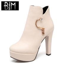 BEINAMINA Größe 31-43 Damen Pelz Stiefeletten Zipper Kristall Winter Schuhe  Frauen Mode Plattform Stiefel Büro Dame Schuhe d0fed1c819