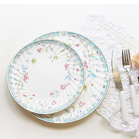 Bone China Tray Round Dish Soup Deep Plate Flower Christmas Dinner Food Steak Pasta Salad Flat Plate Household Pastry Dish 1pcs