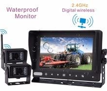7″Digital Screen TFT LCD Waterproof Monitor Built-in 2.4GHz Digital Wireless Receiver ( includes 2 Pcs Waterproof IR Camera)