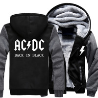 USA Size Free Shipping Men Women AC DC Print Thicken Hoodie Zipper AC DC Coat Clothing