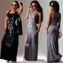 New Fashion Black Grey Summer Women dress Long Style Cotton Sleeveless Dress animal print Elastic casual print dress sleeveless