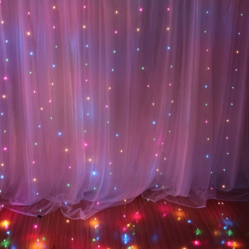 3x3 Meter LED Curtain Light USB Copper Wire Curtain Fairy Light With RF Remote Outdoor Garland Home Wedding Lights