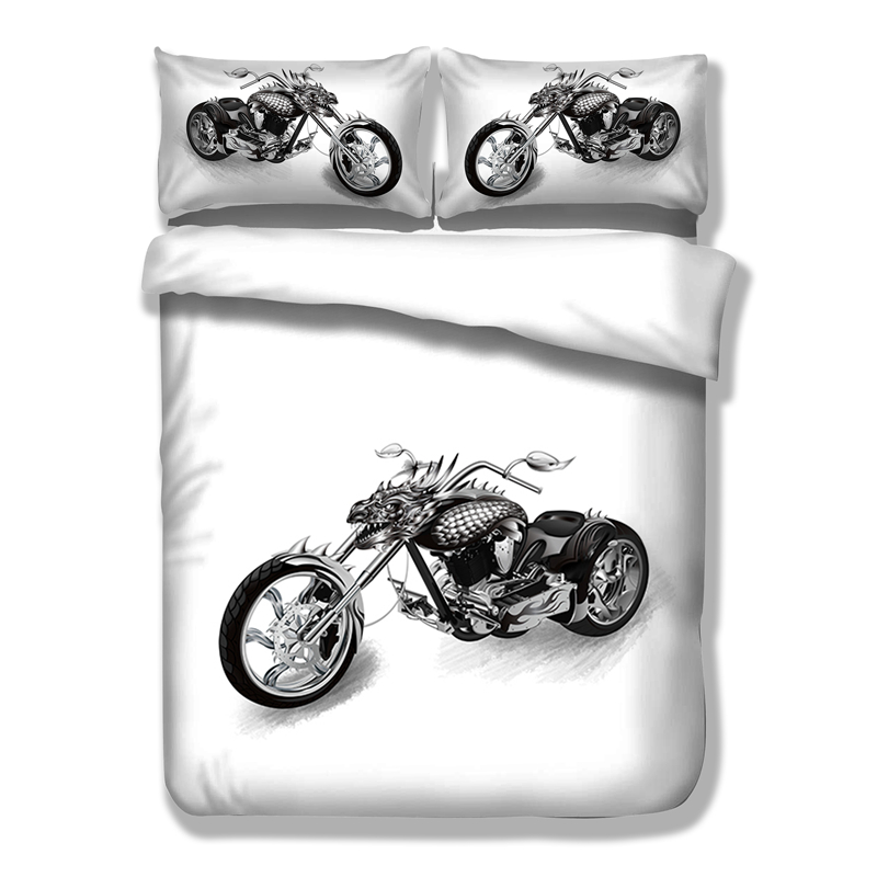 Wongs Bedding White Black Bedding Sets Motorcycle Duvet Cover Bed Sheet Set Single Full Queen King Size 3PCS New Arrival