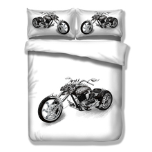 Wongs Bedding White Black Sets Motorcycle Duvet Cover Bed Sheet Set Single Full Queen King Size 3PCS New Arrival