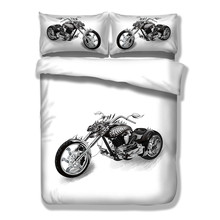 Wongs Bedding White Black Bedding Sets Motorcycle Duvet Cover Bed Sheet Set Single Full Queen King Size 3PCS New Arrival(China)
