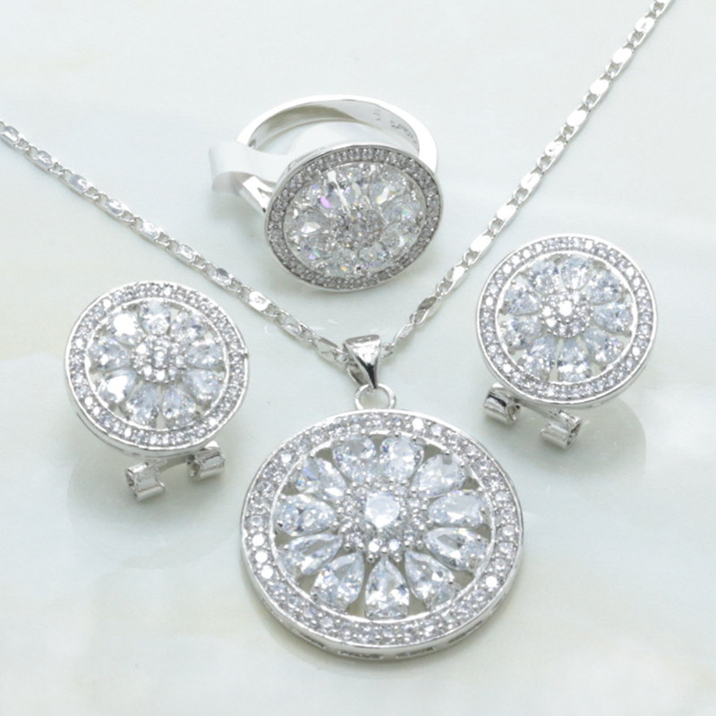 Otogo Transing Mark Silver Color Jewelry Set White Crystal Round Shaped Earrings Necklace Ring Set Women