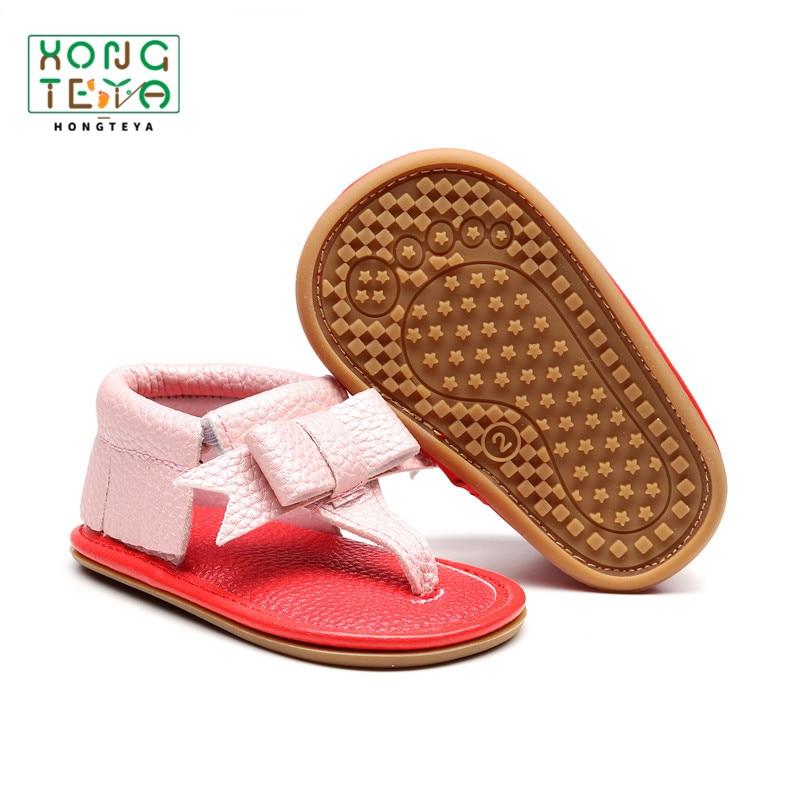 Summer Newborn Girls Flip Sandals PU Leather Red Bottom Sandals For Baby Girl Toddler Infant Girl Hard Sole Non-slip Baby Shoes