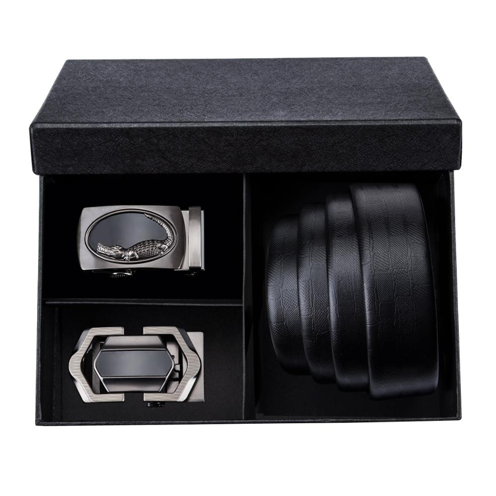 Barry.Wang PG 01 2018 Best Recommend Men's Belts Gift Box Sets 2 PCS Automatic Buckle & 1PC Genuine Leather Belt For Men Gift