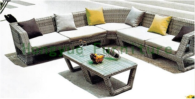 Brown de la rota seccional sofá de jardín conjuntos fábrica directa