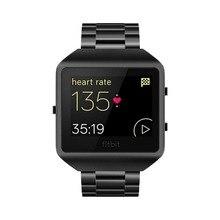 Дизайн металлические звенья+ рамка для fitbit blaze часы трекер ремешок регулируемый ремешок для часов браслет ремешок с оболочкой черный