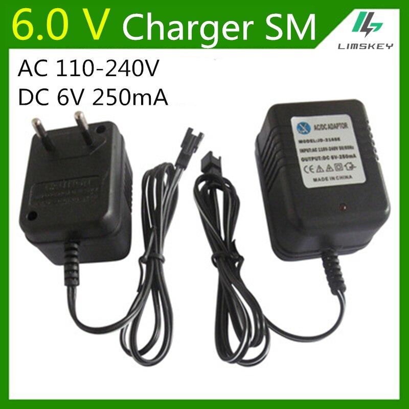 6 V 250 Ma Lader Fpr Nicd-en Nimh Batterij Pack Charger Voor Speelgoed Rc Auto Ac 110 V- 240 V Dc 6 V 250ma Sm Zwarte Stekker Duurzame Service
