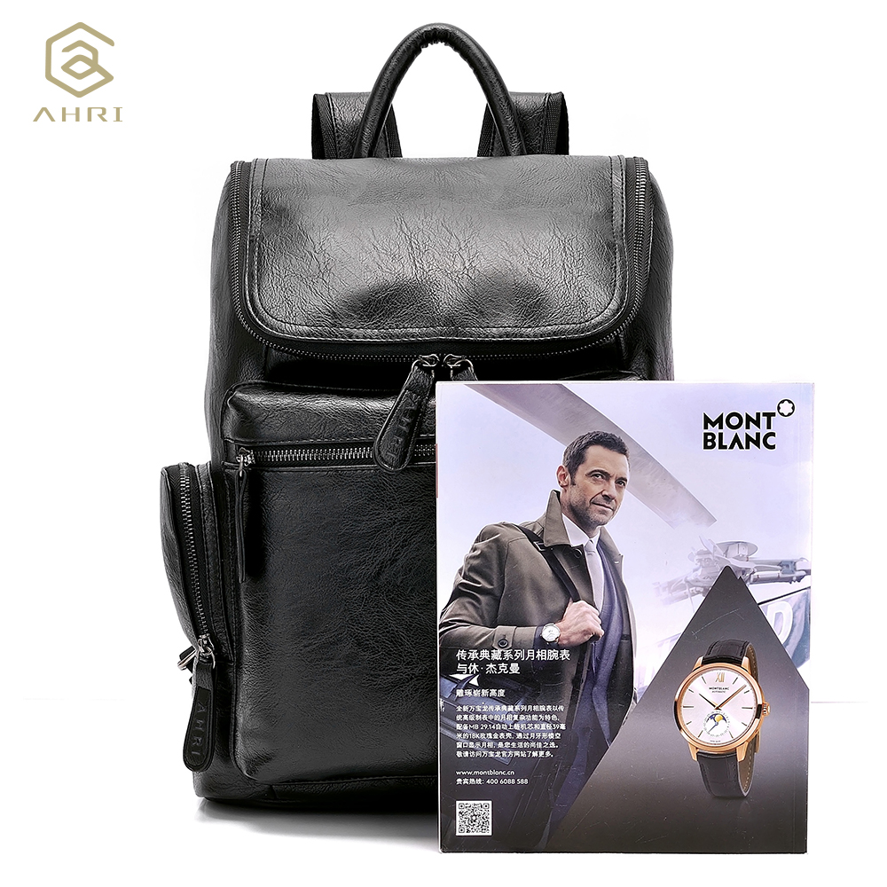 a53f452505c1 AHRI NEW Men Backpacks for Bags PU Leather Men s Shoulder Bags Fashion Male  Business Casual Boy School Boys Vintage Backpack Men