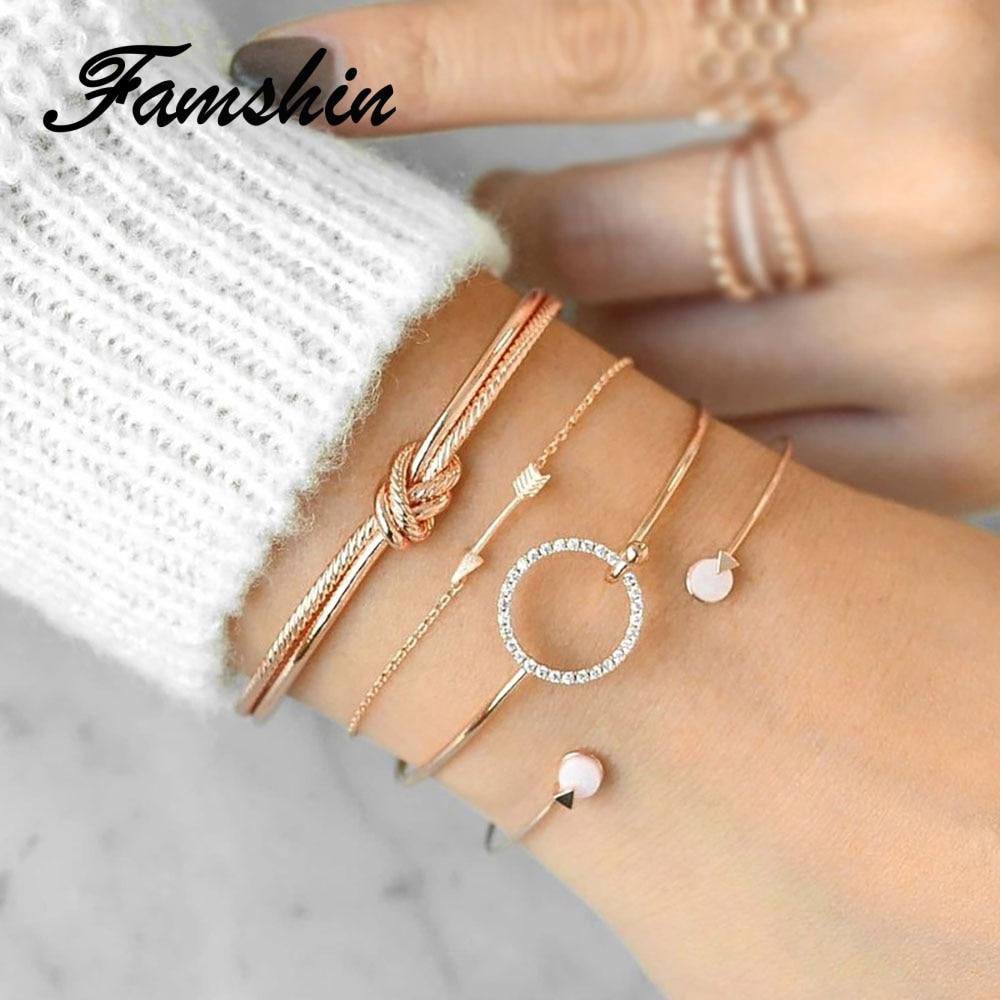 FAMSHIN New Gold Crtystal Circle Bracelet For Women Arrow Bracelet Set Femme Bracelets & Bangles Feminina Pulseras Jewelry Gift