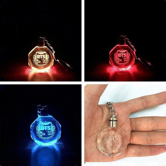 7 Colors KPOP BTS Bangtan Boys Jungkook Jimin Jin Rap Monster V LED Crystal Colorful Keychain Glowing Keyrings For Gift
