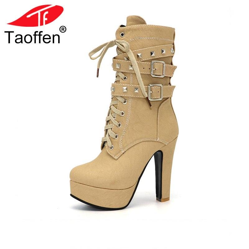 TAOFFEN Women Shoes Women Boots Middle Calf Winter Shoes Plush Zipper Rivets High Heeled Casual Fashion Winter Shoes Size 32-47