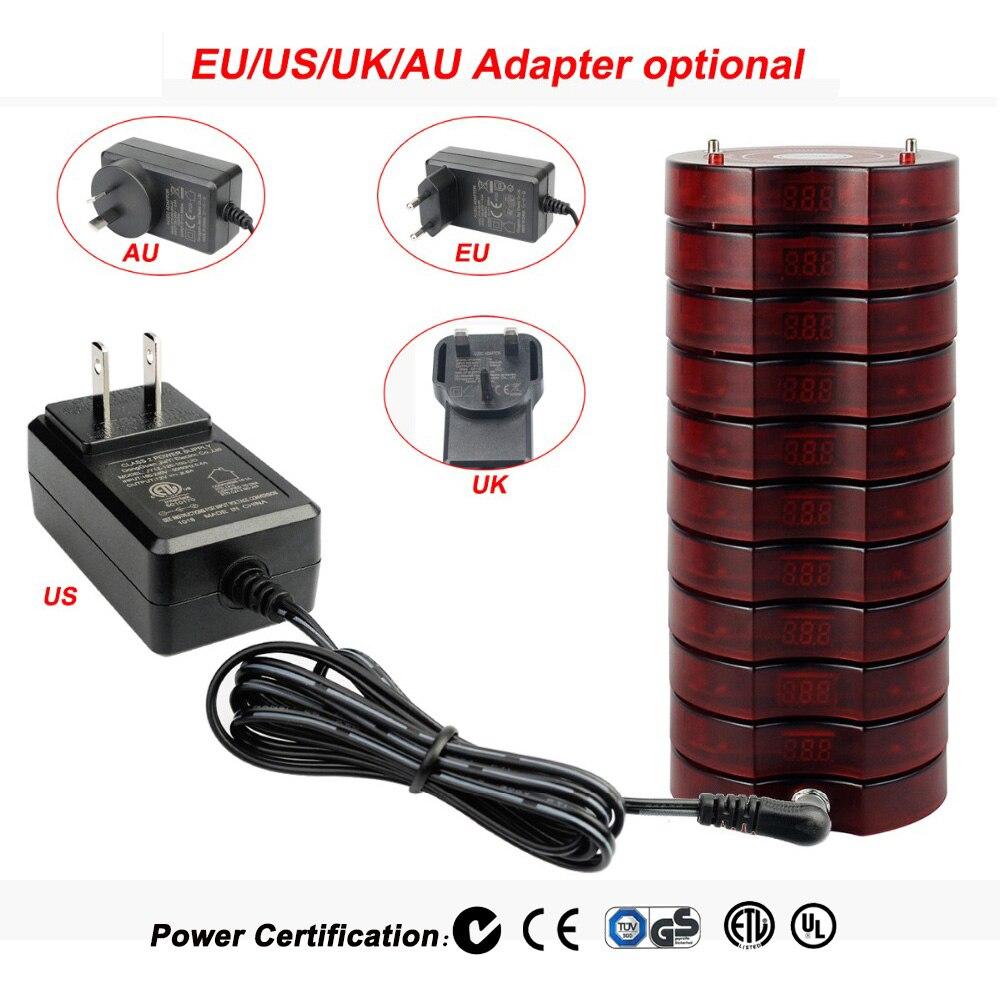 Système de mise en file d'attente sans fil de téléavertisseur de Restaurant 1 transmetteur + 20 téléavertisseurs d'équipements de Restaurant rechargeables F4475 - 4