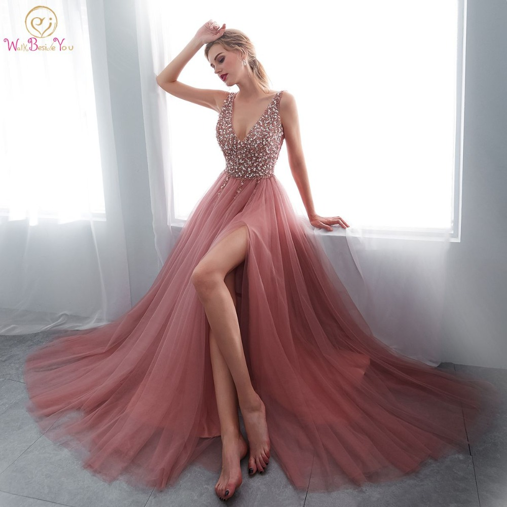 Beading Prom Dresses 2019 V neck Pink High Split Tulle Sweep Train Sleeveless Evening Gown A line Lace Up Backless Vestido De