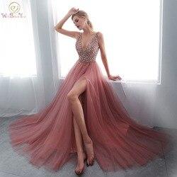 Bordare Abiti da ballo 2020 con scollo a V Rosa di Alta Split Tulle Sweep Treno Senza Maniche Abito Da Sera di A-line Lace Up Backless Vestido De