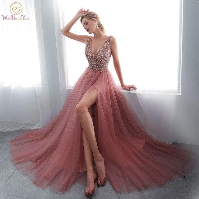 Kralen Prom Jurken 2020 Plus Size Roze Hoge Split Tulle Sweep Trein Mouwloze Avondjurk A lijn Lace Up Backless Vestido de