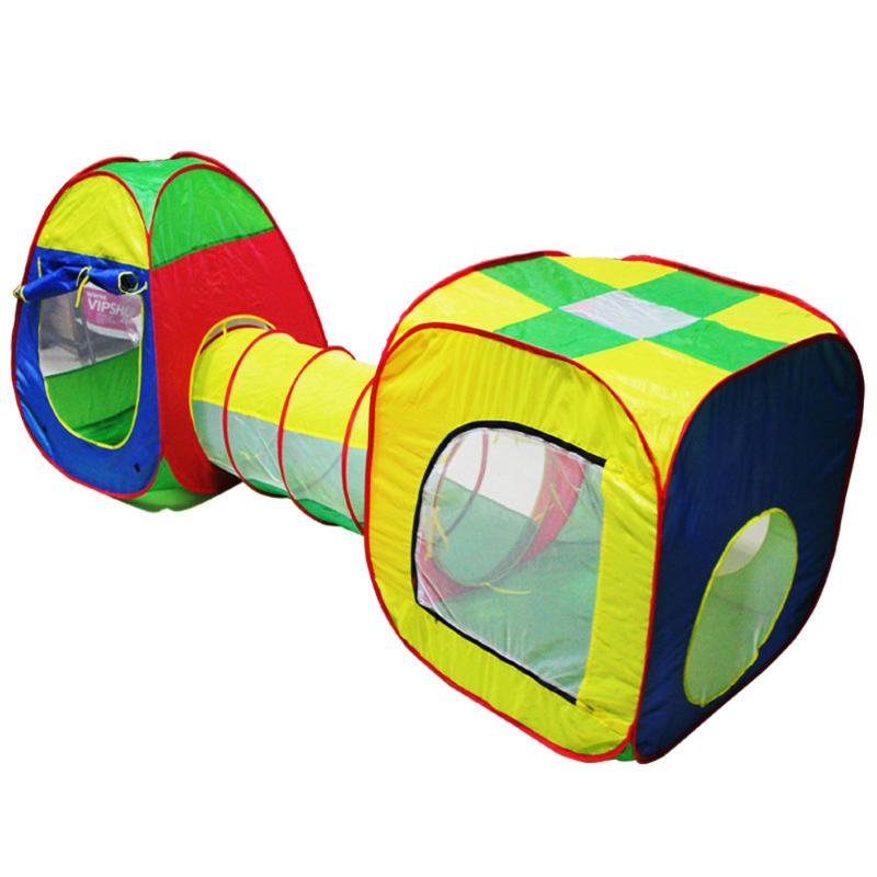 Baby Kids Play House Hut Foldable Tunnel Outdoor Tent Toys Tube Teepee Pop up Playing Toy Tent Children Sport Play Tents 3 in 1