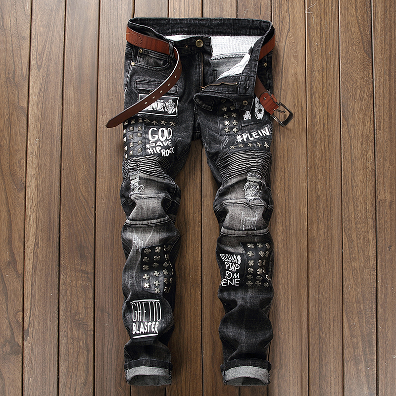 Brand Clothing Mens Fashion Denim Jeans Patchwork Rivet Motorcycle Biker Designer Jeans Male Skinny  Fit Pantaloni Cargo Pants