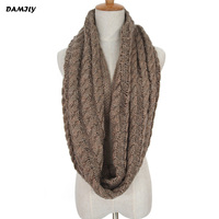 Women Knitted Ring Scarf Fashion Winter Warm Circle Loop Scarf Popular Crochet Infinity Scarves Ladies Soft