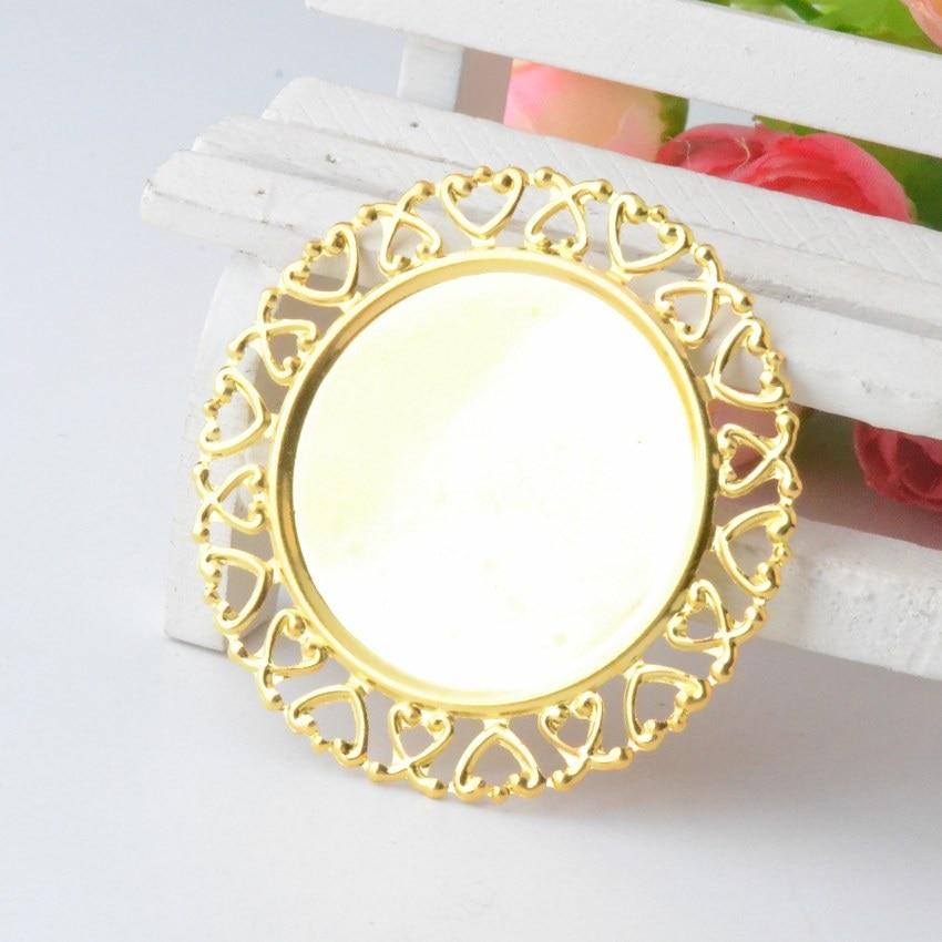 Home Miaochi 50pcs Gold Plated Filigree Cabochon Setting Wraps Connectors Crafts Decoration Diy Embellishments 38x31mm J2863