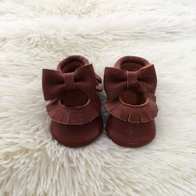 Handmade Genuine Leather Infant Bow Shoes