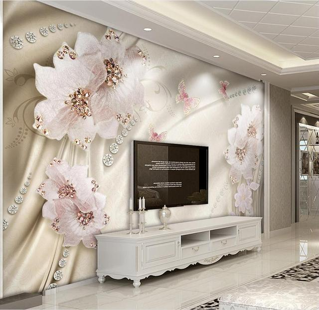 Custom D Tapete Luxus Blumen D Foto Tapete Wohnzimmer Bad Wand Malerei Vlies Tapete Moderne