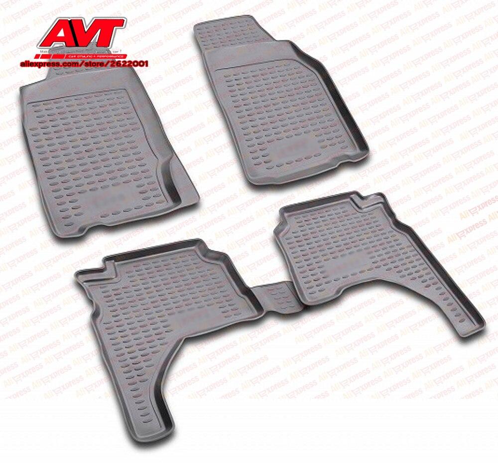Floor mats for Mitsubishi L-200 1996-2005 4 pcs rubber rugs non slip rubber interior car styling accessories