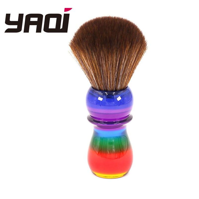 Yaqi 26mm Rainbow Brown Synthetic Hair Shaving Brushes(China)