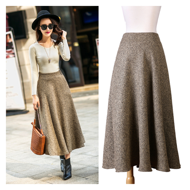 a6f29b36eef 2017 Woolen Autumn Winter A-line Midi Wool Skirt Faldas Mujer Women High  Waist Long Maxi Tutu Pleated Skirt Saias Plus Size 2XL