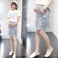 Korean Washed Edge Maternity Jeans Skirt Summer Ripped Hole Denim Elastic Waist Skirts Pregnancy Clothes Pregnant Women Wear