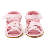 Delebao 2017 Summer New Design Baby Gilr Sandal Solid Pink Cross Striped Hook Loop Rubber Sole