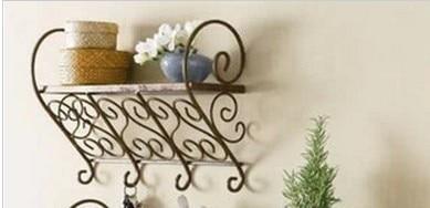 040337 Decor hook Pastoral style shelving wall mount Keys hanging Wrought iron coat rack