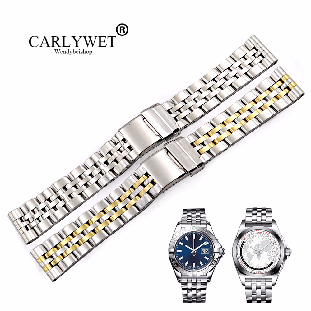 CARLYWET 22 24mm Silver Stainless Steel Watchbands Two Tone Gold REPLACEMENT Wrist Watch Band For Super Ocean1884 Seiko Panerai(China)