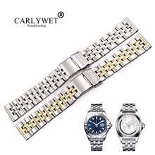 CARLYWET 22 24mm Silver Stainless Steel Watchbands Two Tone Gold REPLACEMENT Wrist Watch Band For Super Ocean1884 Seiko Panerai