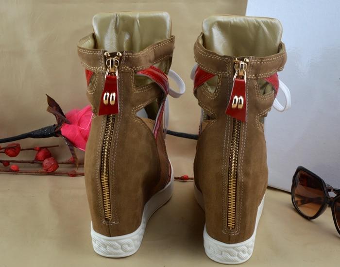 Moda Altura Las Zapatos Caqui As Show Mujeres Aumento Con Casuales Botas Cuña Mujer Nuevo Gamuza Hueco Señora Color La De Cremallera Plataforma CqpOg4