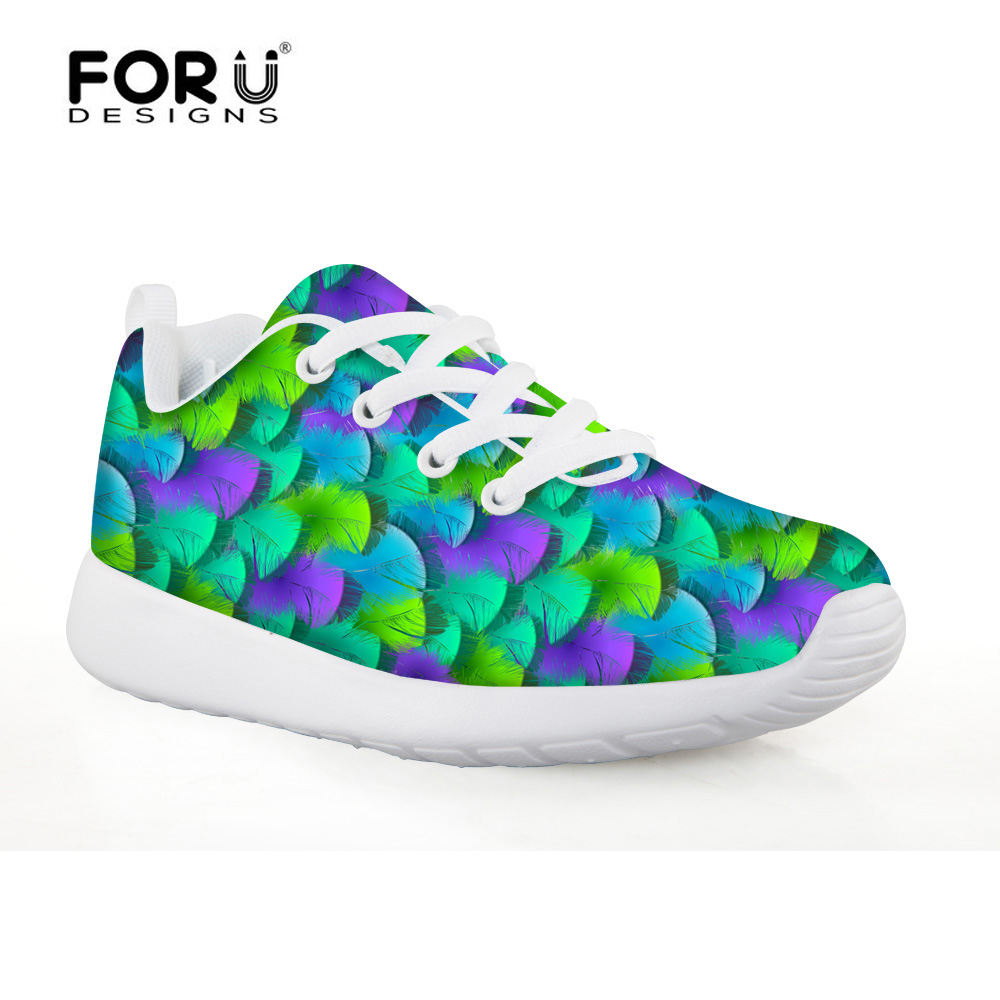 FORUDESIGNS Sport Kids Shoes Plume Printing for Girls Children's Running Shoes Boys Sneakers Air Mesh Fabric Breathable Shoes