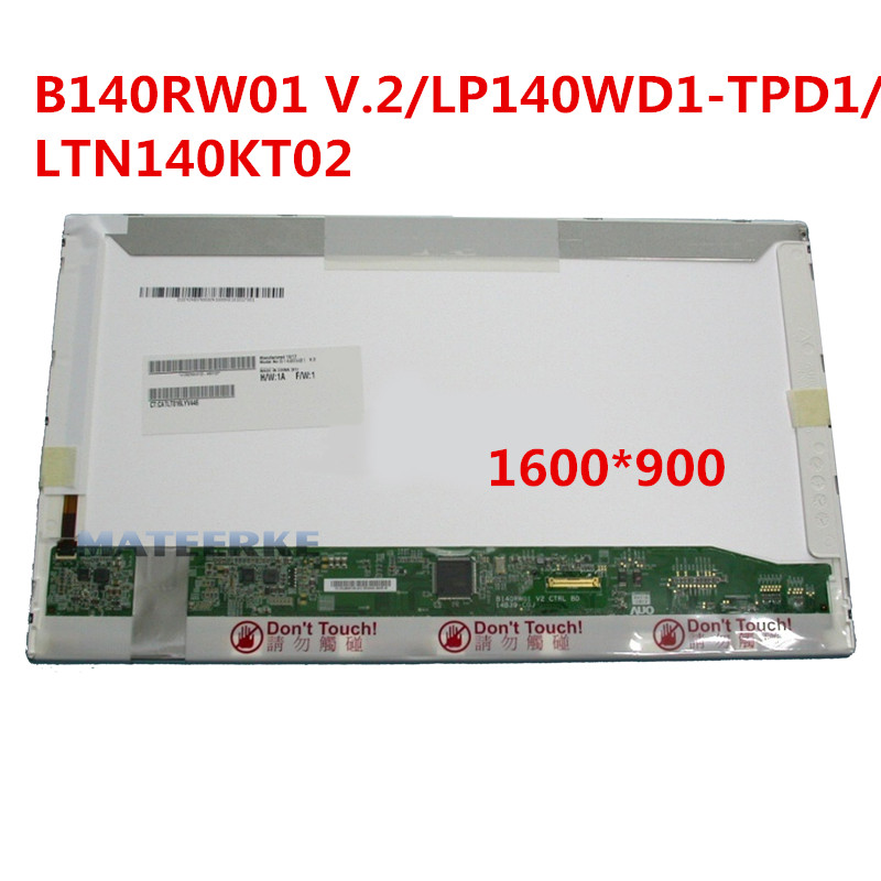 B140RW01 V.2 LP140WD1.TPD1 LTN140KT02 1600*900 30pin 14'' Laptop LCD Screen Panel Replacement gread a 14 lp140wd1 tpd1 fit b140rw01 v 2 ltn140kt02 for hp elitebook 8440p 1600 900 30pin edp led lcd screen panel