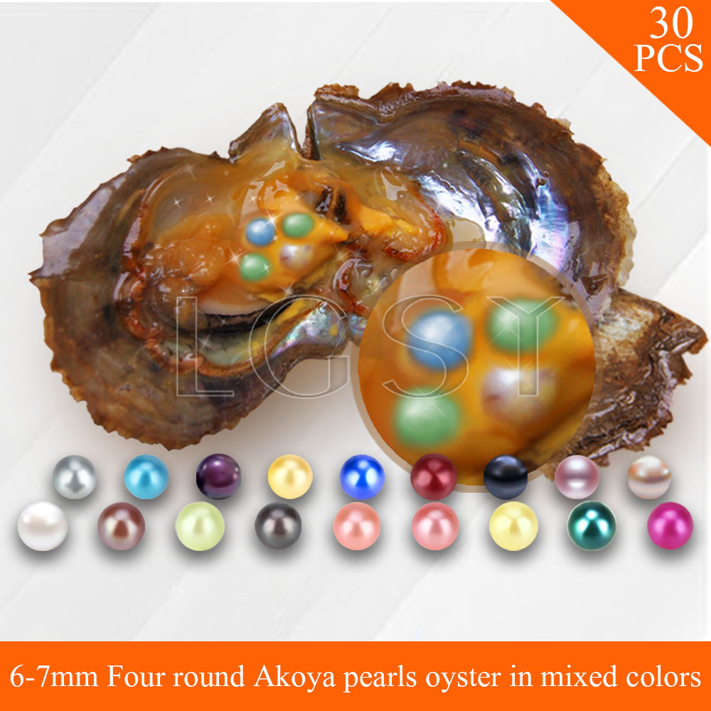 Bead mixed colors 6-7mm Four pearls in one oyster round Akoya pearls with vacuum package for 30pcs