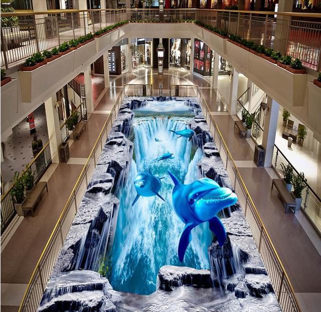 Top Benutzerdefinierte 3d boden Wasserfall Delphin Hai 3d wallpaper PQ62