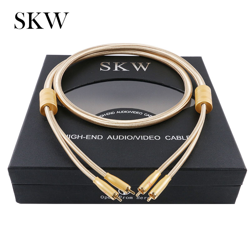 SKW Audio Cable 2RCA to 2 RCA Male to Male With Gold plated 6N OCC 1M