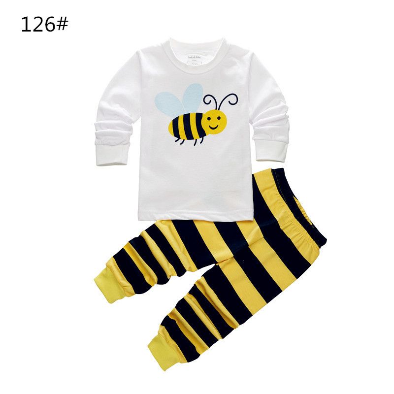 Enough Storage Children Long Sleeves Full Length Pants Striped Bumble Bee Yellow White Color Spring Autumn Girls Boys Kids Cloth